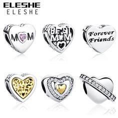5.92$  Buy here - Authentic 925 Sterling Silver BEST MOM,FOREVER FRIENDS Love Heart European Charm Bead Fit Original Pandora Bracelet DIY Jewelry   #buyininternet
