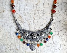 Items similar to Bib Necklace, Silver Bib Necklace, Gemstone Bib Necklace, Boho Necklace, Gypsy, Hippie, Silver Tribal Necklace (192) on Etsy