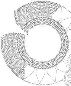 crochet beauty collars, more patterns - crafts ideas - crafts for kids Crochet Collar Pattern, Col Crochet, Crochet Lace Collar, Crochet Motifs, Crochet Diagram, Crochet Round, Crochet Chart, Irish Crochet, Crochet Doilies