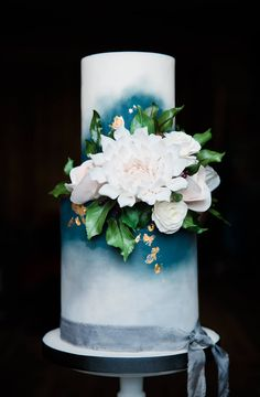 Blue and gold floral wedding cake, contemporary wedding cake, sugar flowers Image by Shot@: Photography
