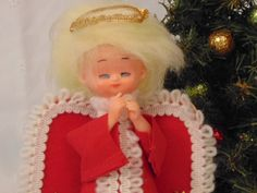 Christmas Tree Topper Angel Table Decor from 1960's Red Felt White Embroider Trim Halo by simpleholidaydecor on Etsy