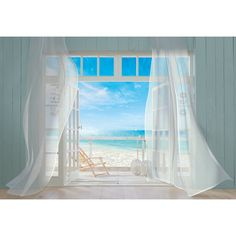 Invite the gorgeous Malibu coastline into your life everyday with this stunning tromped l'oeil beach wall mural. Gauzy white curtains billow in the sea breeze of an open window with a sunny California beach scene stretching as far as the eye can see.