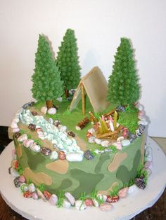 I got the ideas from many great ideas here on... Cake Cookies, Cupcake Cakes, Camo Cakes, Camping Cakes, Dad Cake, Cake Illustration, Cake Games, Cakes For Men, Love Cake