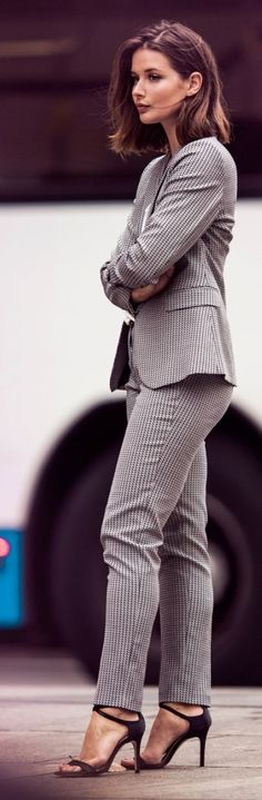Office wear | Elegant business attire grey suit with strapped heels
