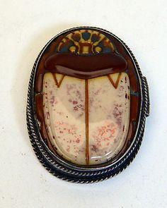 Antique Snuff Box Sterling Silver Arabic Egyptian Scarab Bakelite c1920- 30s