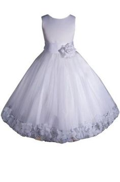 Amazon.com: AMJ Dresses Inc Girls White Flower Girl Communion Pageant Dress From Baby to 12: Clothing