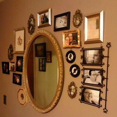 French Gray walls, mixed metallic frames, antique and thrifty goodness!  Decor and photo, © Barbara Boynton.
