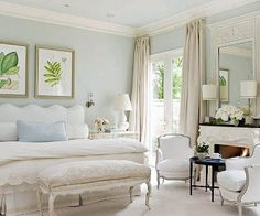 White, cream and light blue bedroom... very pretty and relaxing colour scheme.