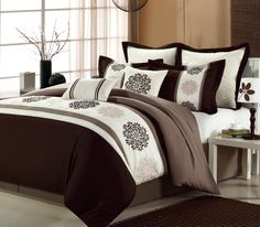 Gorgeous Beijing Brown Comforter Set! #LuxBed #Chic Home #Comforter #Bedroom