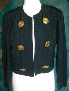 Schwarze Jacke Gr. 38 große goldene Knöpfe Ø 4,9 cm Schulterpolster Vintage 80er