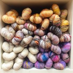 All of the speckled yarns. Skinny Singles, by Hedgehog Fibres
