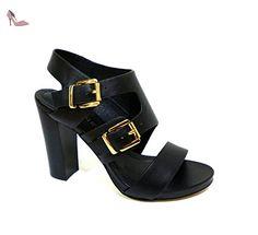 Cafè Noir OMB151010390 E16.010 NERO 39 SANDAL DEUX PIECES EN cuir avec boucle DOUBLE - Chaussures caf noir (*Partner-Link)