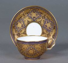 Coalport China Cup and Saucer The Cashmere design shown here reflects the revival of interest in Oriental and Persian designs from the 1860s. Cashmere shawls were also popular at this time. The cup and saucer date from 1870-1875.