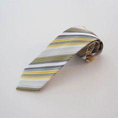 Yellow/Gray/White Stripe Men's Microfiber Tie 7309
