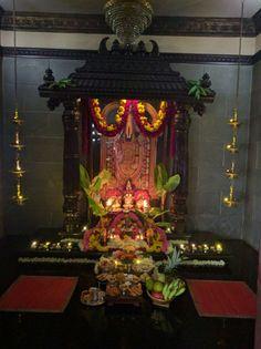 drawings of dresses Festival Decorations, Flower Decorations, Temple Room, Ganapati Decoration, Pooja Mandir, Pooja Room Door Design, Home Altar, Puja Room, Prayer Room