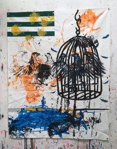 Hermann Josef Hack, ADLER 160630, painting and spray paint on tarpaulin, 239 x 185 cm, 2016