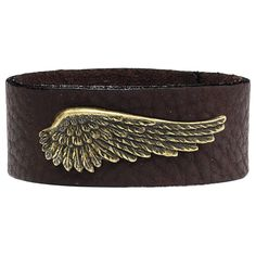 Pyramid Collection Angel Wing Wristband Bracelet - Made With Brown Leather & Antiqued Brass