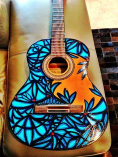 Painted Guitar by A. This thing looks to cool for school! Ukulele Art, Music Guitar, Cool Guitar, Painted Ukulele, Painted Guitars, Guitar Crafts, Guitar Art Diy, Ukulele Design, Posca Art
