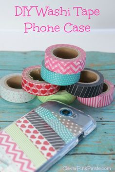 This DIY phone case is made with a clear case and washi tape, under $5!