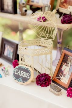 A Vintage Bird Cage Held Wedding Cards | Figlewicz Photography | See More! http://heyweddinglady.com/classic-garden-wedding-in-rich-purple/
