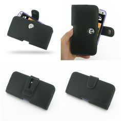 PDair Leather Case for The New HTC One 801e 801s in Cover/Skin Case - Horizontal Pouch Type (Black)