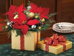 Lighted Poinsettia Evergreen Christmas Centerpiece Decoration