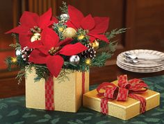 Lighted Poinsettia Evergreen Christmas Centerpiece Decoration
