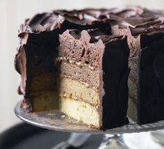 Chocolate and Caramel Layer Cake-four layers,is sponge cake,caramel flavored through chocolate in an ever-darkening shade.