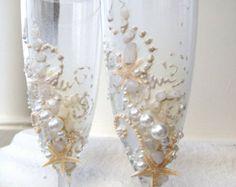 Strand bruiloft proosten fluiten starfish van PureBeautyArt op Etsy