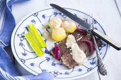 Braised shoulder of beef with a horseradish sauce.