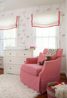 This Washington DC nursery is bright, clean and cheerful. It features modern flamingo wallpaper, a modern crib, crystal chandelier and soft sheepskin rug. Baby Wallpaper, Flamingo Wallpaper, White Wallpaper, Home Design, White Changing Table, Flamingo Nursery, Baby Girl Nursery Themes, Nursery Ideas, Themed Nursery