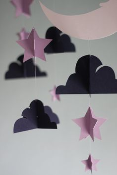 Moon and Stars Paper Mobile  Plum by HUSHandHONEY on Etsy