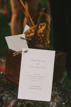 The details - Ceremony Cards tied with twine, DIY, vintage butter box with flower girl baskets Photography: Divine Light Photography - dlweddings.com @Divine Light Photography