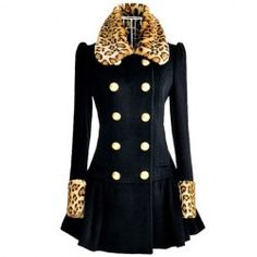 $24.94 Modern Style Lapel Leopard Splicing Long Sleeve Worsted Coat For Women