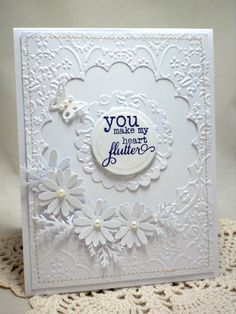 Beautiful White On White. Joy - Cards and Paper Crafts at Splitcoaststampers. - large scallop cut out of embossing folder background Pretty Cards, Love Cards, Wedding Anniversary Cards, Wedding Cards, Spellbinders Cards, Embossed Cards, Creative Cards, Greeting Cards Handmade, Scrapbook Cards