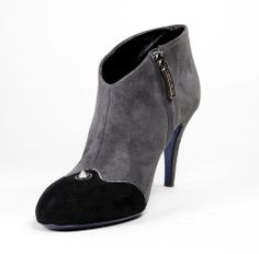 3028 Loriblu Shoes- Suede Grey, Black Toe, Blue Sole & a Silver Spike on these Anthracite brushed calfskin #suede, vintage-feel ankle #boots with #stiletto heel and side zip closure. Featuring round toe. Leather lining and sole. #MadeInItaly available at Rina's Italian Shoe Boutique, $370 on sale now http://www.rinastore.com/0000003028-loriblu-shoes:-gray-black/dp/5779