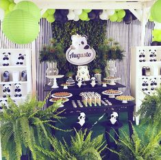 Un Panda para la fiesta de Baby shower Fiesta Baby Shower, Baby Shower Parties, Baby Shower Themes, Shower Ideas, Panda Baby Showers, Panda Birthday, Panda Party, Party Themes, Themed Parties