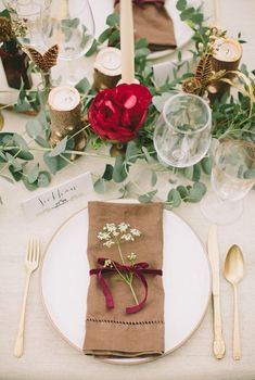 From: Project Wedding Gorgeous ideas for a burgundy wedding palette. Wedding Table Linens, Wedding Table Decorations, Wedding Napkins, Wedding Table Settings, Place Settings, Table Centerpieces, Flower Centrepieces, Table Flowers, Trendy Wedding