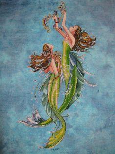 Mermaids of the Deep Blue cross stitch by Mirabilia
