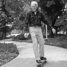 Louis Zamperini skateboarding at 80 years old