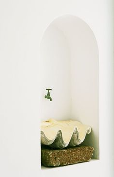 Hotel Raya - Mediterranean powder room with arched niche filled with wall-mounted spigot faucet and clam shell sink. Bathroom Inspiration, Interior Inspiration, Design Inspiration, Interior Exterior, Interior Architecture, Interior Design, Tadelakt, Boho Home, Hotel Interiors