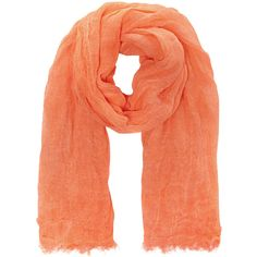Selected Femme Scarf Adda Orange ($19) ❤ liked on Polyvore featuring accessories, scarves, coral scarves, fringed shawls, orange shawl, orange scarves and fringe scarves