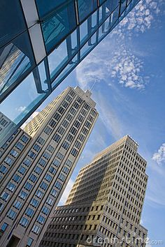 Low angled view of modern office buildings in Potsdamer Platz, Berlin, Germany.