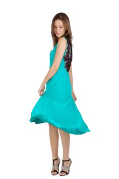 abacaxi High-Low Maxi in Aqua | GNOSSEM | Top Independent Designers | Free Shipping Worldwide