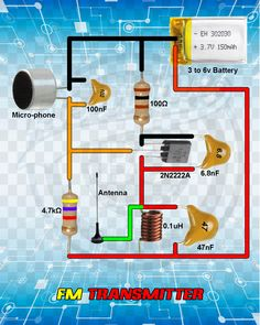 Electric Field Electronics: Circuit FM transmitter scheme with single transis . - Electronics Electric Field: Circuit circuit FM transmitter with single transistor powered b - Electronics Projects, Electronics Gadgets, Electrical Engineering Books, Electrical Projects, Electronic Engineering, Chemical Engineering, Electronic Circuit Design, Electrical Circuit Diagram, Electronic Schematics