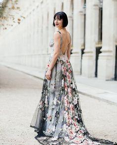 Something about our Raven gown in Paris…a match made in heaven. : @nicholaspurcellstudio Beauty: @clairejonesmakeupartist Salon: @blackburnbridal  #ClairePettibone #floralweddingdress #uniqueweddingdress #personalstyle