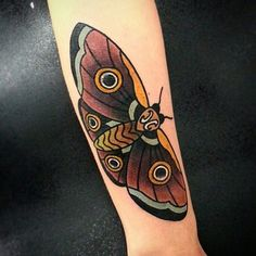 Looking for new tattoos in the American traditional style? @lee_tattoos inked this bold and colorful moth right here at Classic Ink Tattoo Studio! Come see him for your next awesome piece of body art!