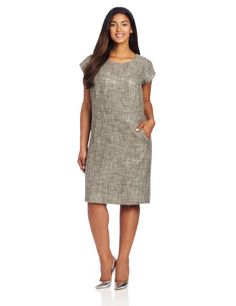8d121577f45 LBD without the Black. Perfect piece for the wardrobe. Jones New York  Womens Plus Size Capped Sleeve Shift Dress With WI.