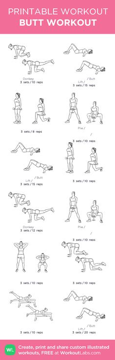 BUTT WORKOUT : my custom printable workout by @WorkoutLabs #workoutlabs #customworkout Workout Schedule, Workout Guide, Leg Butt Workout, Reps And Sets, Printable Workouts, Mental Training, Fitness Workout For Women, Excercise, Tricks