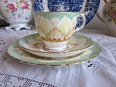 Rare Tuscan China Lotus Tea Trio in Green by VictorianAndVintage, £22.00